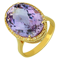 Золотое кольцо 585 пробы с аметистом и фианитами