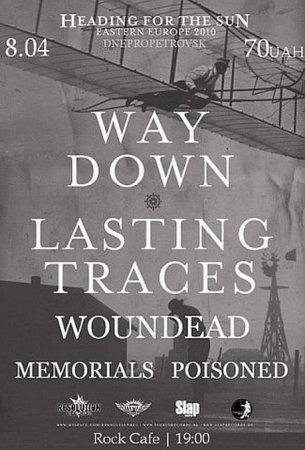 8 апреля, Way Down. Lasting Traces. Woundead. Memorials Poisoned, Рок-кафе