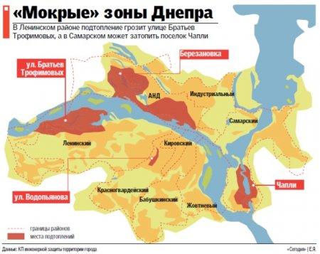 Мокрые зоны Днепра: где ждать подтоплений